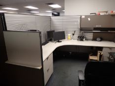 """STEELCASE APPROX 329"""" X 14.5' X 67""""H WORKSTATION PARTITIONS C/W (2) CORNER STATIONARY DESKS (NO FILE"""