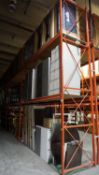 SECTIONS - ORANGE STEEL 4' X 12' X 18'H PALLET RACKING (80 STRINGERS TOTAL) (RIGGING FEE $40 / SECT