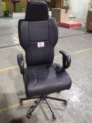 CONCEPT SEATING 3142 HIGH-BACK BLACK LEATHER PNEU ADJ OFFICE CHAIR (1 DAMAGED CASTER)