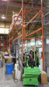 SECTIONS - ORANGE STEEL 4' X 12' X (1) 14'H & (17) 18'H PALLET RACKING C/W MDF WOOD (68 STRINGERS