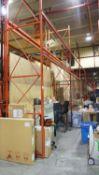SECTIONS - ORANGE STEEL 4' X 12' X (1) 14'H & (17) 18'H PALLET RACKING C/W MDF WOOD (102 STRINGERS