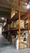 SECTIONS - ORANGE STEEL 4' X 12' X 18' PALLET RACKING (24 STRINGERS TOTAL) C/W MDF WOOD (RIGGING FEE