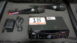 AKG SR40 DUAL PRO STATIONARY RECEIVER W/ (2) MICROPHONES & TRAVEL CASE. FREQ. 748-751 MHZ