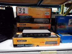 LOT - SOLIDMATE HD-140E3-3D 1X4 HDMI SPLITTERS (3 UNITS)