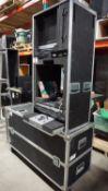 LOT - ROLAND EDIROL V4 VIDEO MIXER, DVD PLAYER, DISTRIBUTION AMP C/W ECM ROLLING ROAD CASE