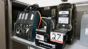 DJ FOG STORM 700 FOG MACHINE C/W FOG FLUID, POWER DISTRIBUTION UNIT, & TRAVEL CASE