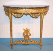 Konsole Louis XVI.,Linde geschnitzt gefasst vergoldet, reich geschnitzte Zarge und Girlandenfestons,