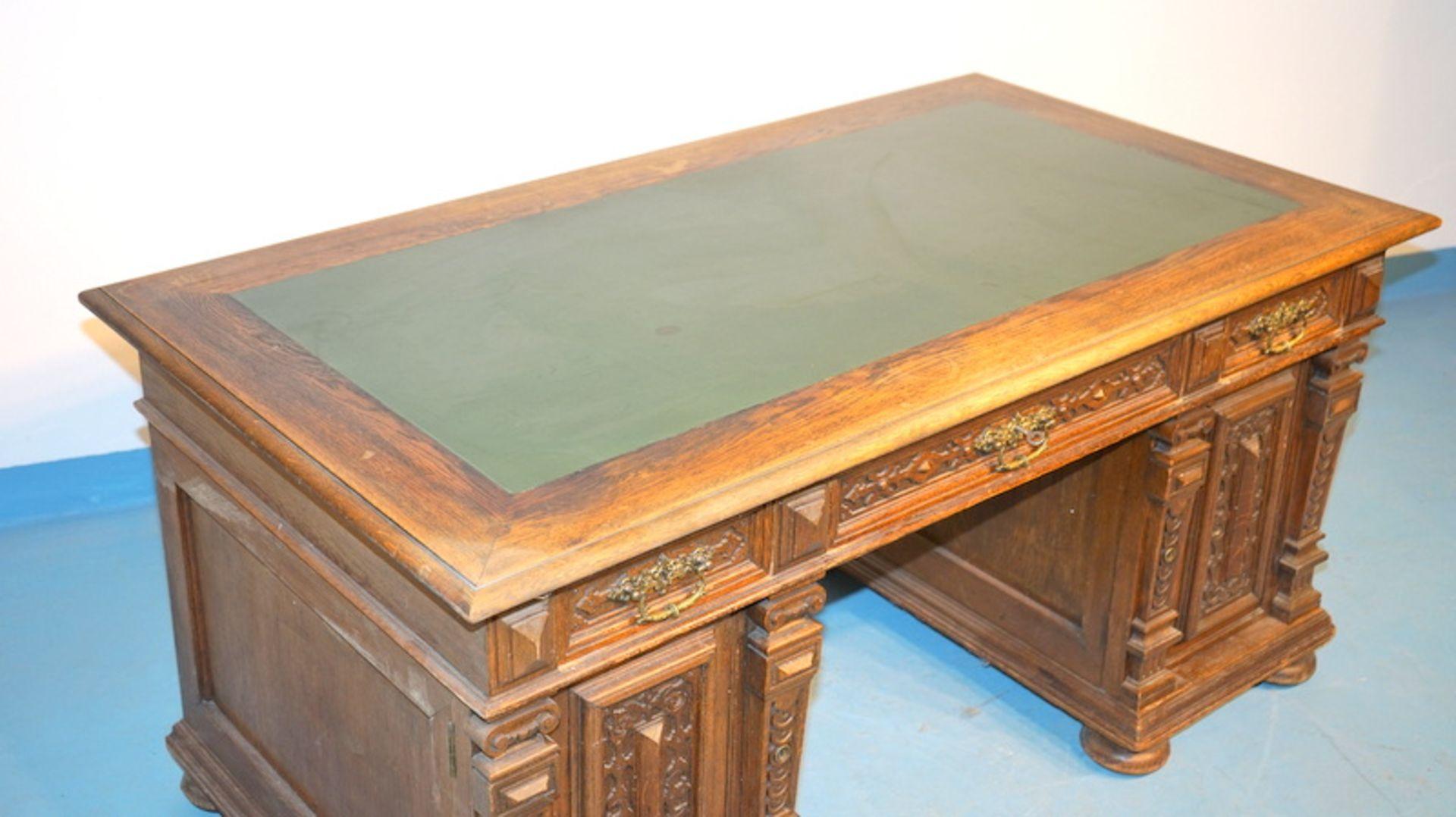 Schreibtisch der Gründerzeit, deutsch um 1890 - Bild 2 aus 3