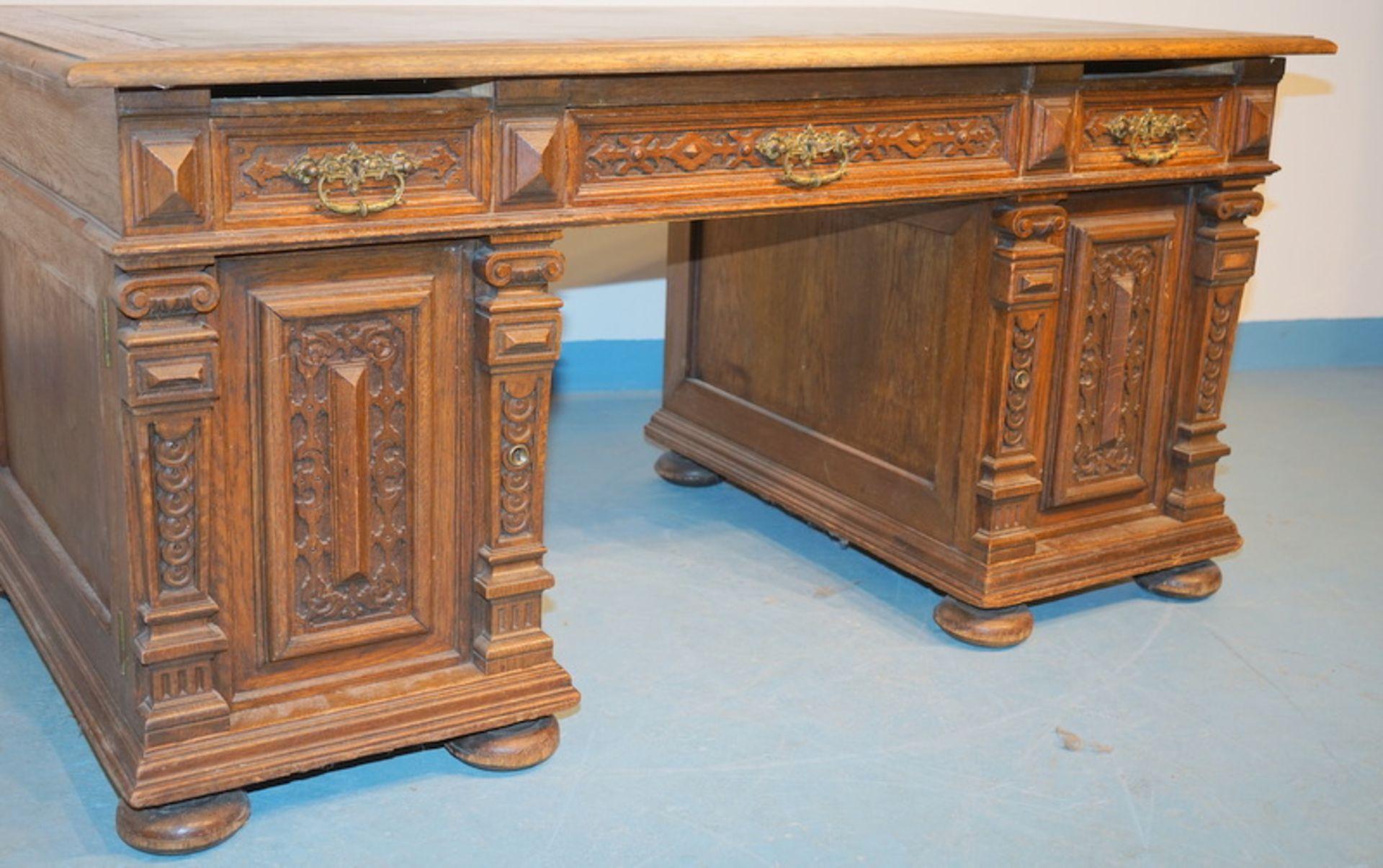Schreibtisch der Gründerzeit, deutsch um 1890 - Bild 3 aus 3