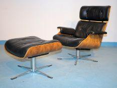 Lounge Chair mit Ottoman aus Palisander-Schichtholz