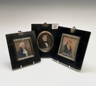 A George III portrait miniature of a bewigged gentleman with a blue coat 7.5x6cm and two other