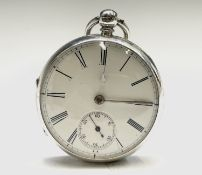 An English fusee silver pocket watch, movement no. 14743. Chester 1873, 53.5mm. Phillip Wadsworth.
