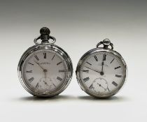 A silver Waltham large keyless pocket watch, case number 5921 movement number 7587976 Diameter 58.