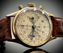 A Zodiac gold plated chronograph wristwatch Diameter 35.8mm 52.2gm including strap. Phillip