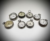 Eight silver cased keywind pocket watches 872gm Condition: One lacks glass and hands, one quite
