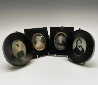 Two pairs of 19th-century provincial portraits 7x5.5cm Not examined out of the frames but we can see