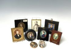A group of eight miniature portraits of gentlemen including one Georgian with a blue coat, 5cm