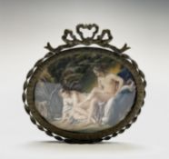A reproduction miniature in a bow decorated frame. UK Postage: £17.04