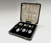 A set of six silver botanical enamelled coffee spoons by Turner & Simpson Birmingham 1966(?).