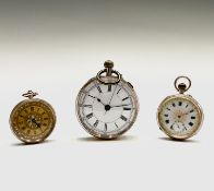 A 9ct gold cased open face keyless pocket watch 50.5mm 82.9gm together with two 9ct gold fob
