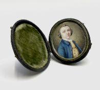 A fine mid-18th-century portrait miniature by Henry Millington(c.1735-1764) the three-quarter-length