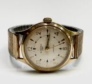 An Ingersol 5 Jewel gentleman's wristwatch in gold plated case 34mm diameter Condition: Winds and