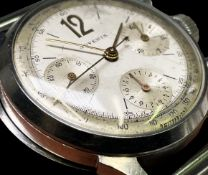 A Juvenia stainless steel cased chronograph wristwatch with three subsidiary dials, 35mm diameter
