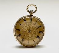 A chased 18ct gold, open gold face key wind pocket watch by Savory and Sons, Cornhill London No 9490