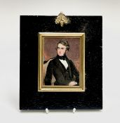 A miniature portrait of a seated Victorian young gentleman 10x7.5cm Condition: Not examined out of