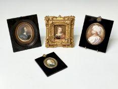 Four various portrait miniatures Condition: The Prince Rupert portrait has splits the others have no