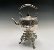 An early Victorian epns spirit kettle, stand and burner by Broadhead Sheffield in mid 18th-century
