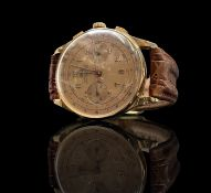 An Egona 18ct gold chronograph wristwatch with pink dial and 17 jewel movement Diameter 36.9mm, 48.