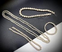 Cultured pearls - three necklaces and a bracelet one continuous strand 122xm one chunky string of