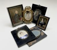Five various miniatures and a frame Condition: See images for condition but none is in poor state.
