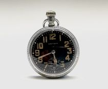 A Waltham military pocket watch with black dial, nickel case 51.5mm diameter with screw back,