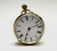 An 18ct gold cased keyless watch Chester 1899 37mm 39.8gm.