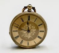 An 18ct gold chased open gold-face keywind pocket watch the movement signed Stauffer 36.3mm diameter