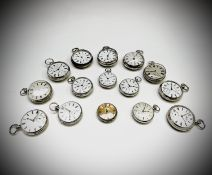 A collection of fifteen silver cased open face key wind pocket watches. Phillip Wadsworth. Died 2020