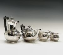An epns four piece tea service with gadrooned borders by Harrison Fisher Condition: Scratching but