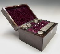 A Victorian rosewood veneered toilet case with the retailer's label of Gale & Lawday, Liverpool &