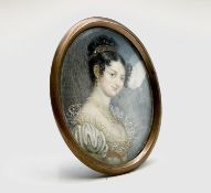 A Regency portrait of Selina, Countess Clam-Martinic 7x5.5cm Condition: A patch of degradation can