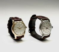 A Frey & Co military style gentleman's steel cased wristwatch and a Favre-Leuba gold plated