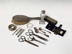 A pair of 19th-century steel scissors, matching smaller scissors and one other pair and various