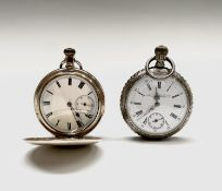 A gold-plated Tavannes open face keyless pocket watch, engraved decoration. Diameter 52mm 97gm