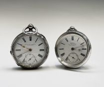 Two silver key wind pocket watches The first by H. White 104 Market Street Manchester movement