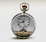 A silver Hebdomas 8 Day keyless pocket watch 46.8mm 83.5gm. Phillip Wadsworth. Died 2020