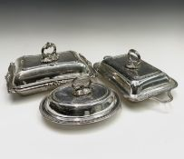 Three epns entree dishes each with a lid and detachable handle. The largest 31cm Condition: No