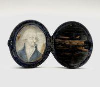 An 18th-century portrait of a gentleman with blue coat 5x4cm Blue velvet hinged case Condition: Case