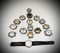 A collection of fifteen gentleman's mechanical wrist watches.