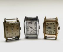 Three gentleman's rectangular cased wristwatches including one signed Zemoca. Phillip Wadsworth.